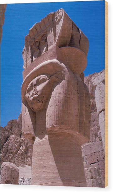 Egyptian Stone Goddess Wood Print by Carl Purcell