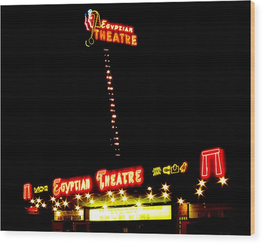 Egyptian Theatre In Coos Bay Oregon Wood Print by Gary Rifkin