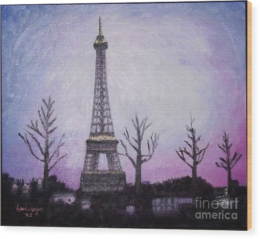 Eiffel At Night Wood Print