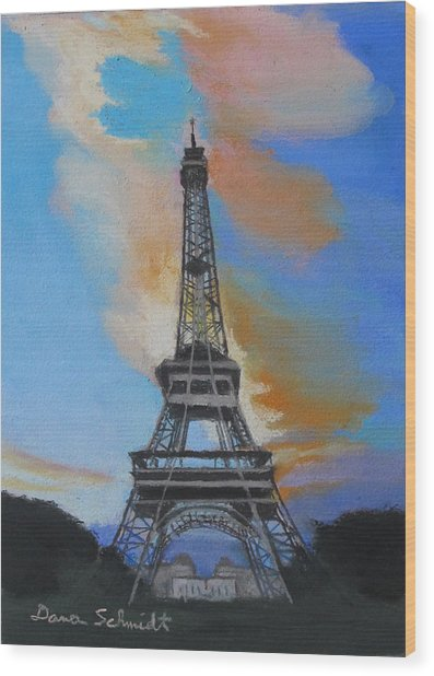 Eiffel Tower At Dusk Wood Print