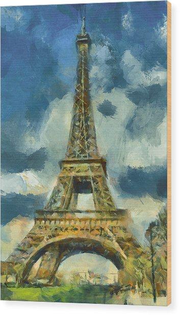 Eiffel Tower In Spring Wood Print
