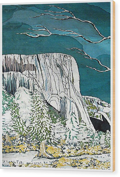 El Capitan Wood Print by Alexandra  Sanders