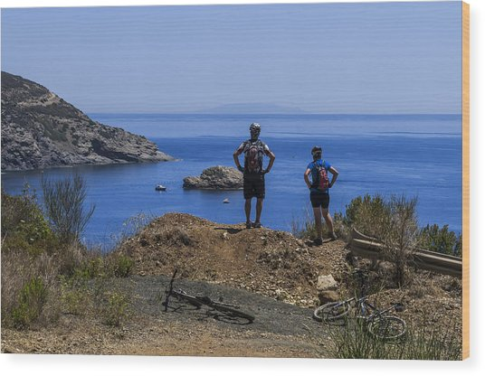 Elba Island - Mtb Bikers Looking The Far Away Island - Ph Enrico Pelos Wood Print