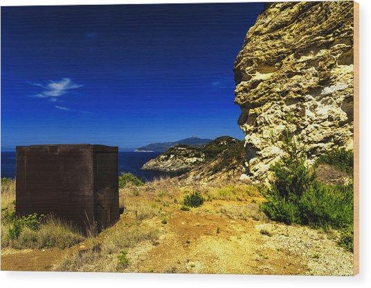 Elba Island - Rusty Iron Cube Landscape - Ph Enrico Pelos Wood Print