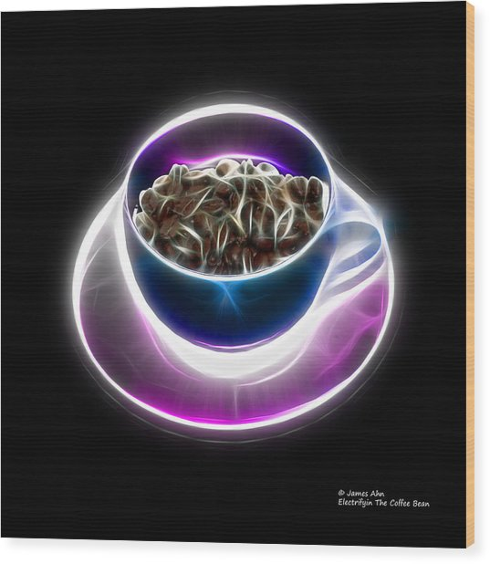 Electrifyin The Coffee Bean -version Blue Wood Print