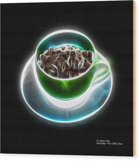 Electrifyin The Coffee Bean -version Green Wood Print