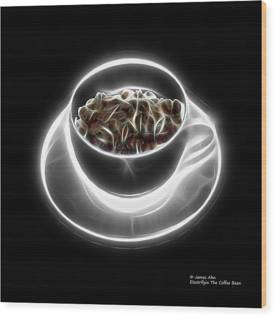 Electrifyin The Coffee Bean -version Greyscale Wood Print