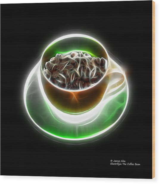 Electrifyin The Coffee Bean -version Orange Wood Print