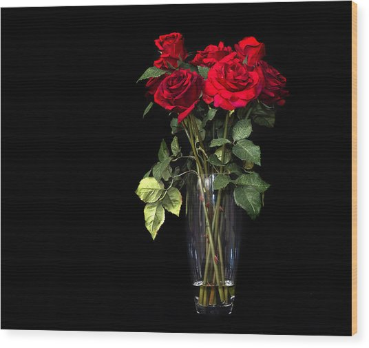 Elegant Red Roses Wood Print by Trudy Wilkerson