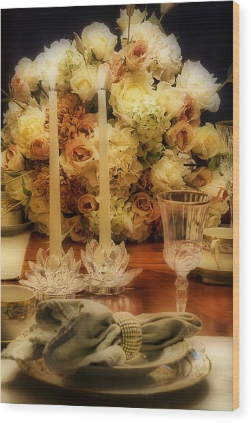 Elegant Tablesetting Wood Print by Trudy Wilkerson