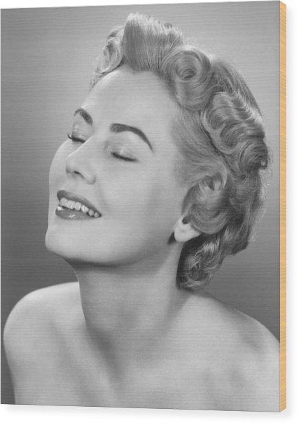 Elegant Woman Posing In Studio, Eyes Closed,  (b&w), Portrait Wood Print by George Marks