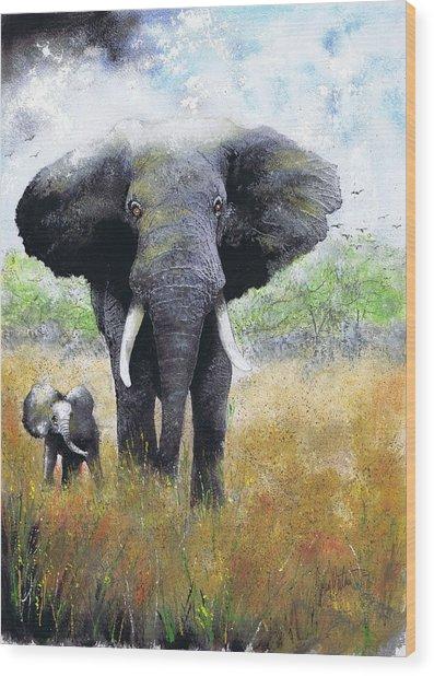 Elephant And Baby Wood Print