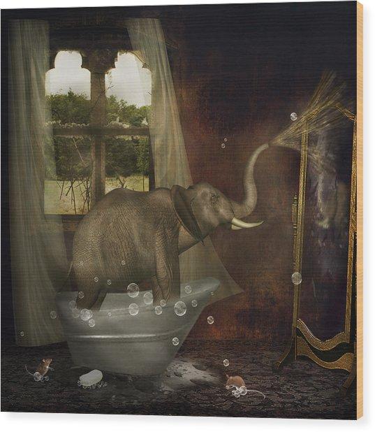 Elephant In Bath Wood Print