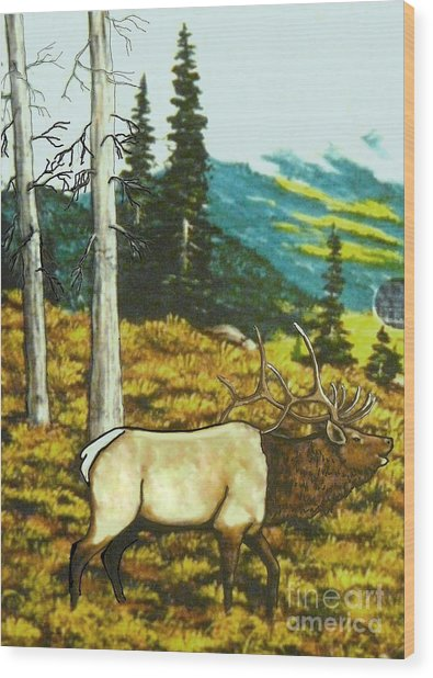 Elk In The Mountains Wood Print by Bobbylee Farrier