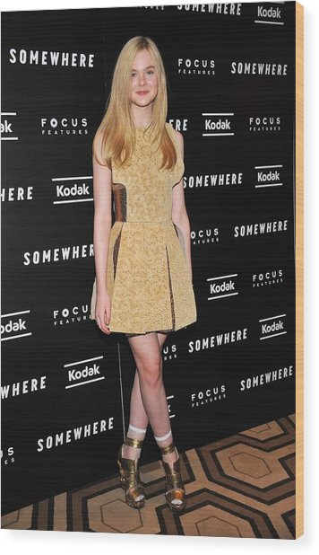 Elle Fanning Wearing A Rodarte Dress Wood Print by Everett