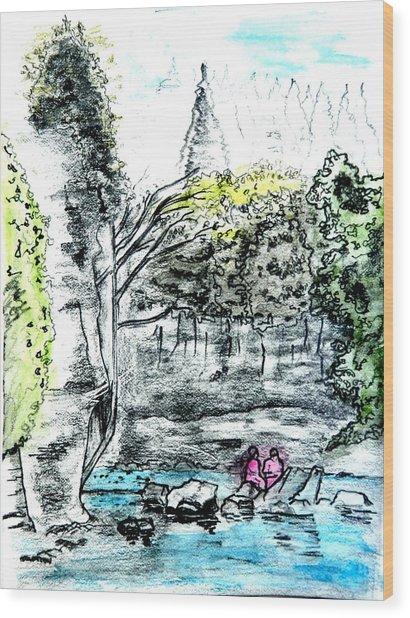 Elora Sketch Wood Print by Musat Iliescu