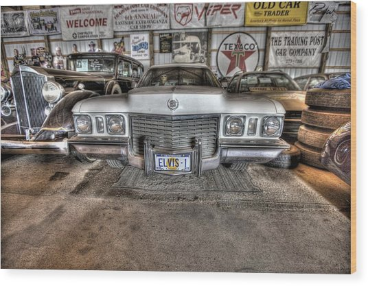 Elvis' Cadillac Wood Print