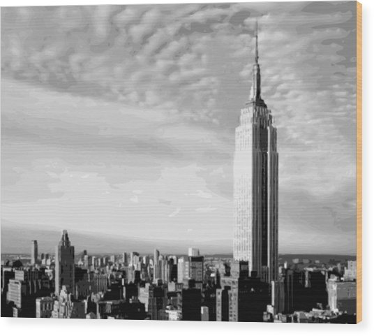 Empire State Building Bw16 Wood Print