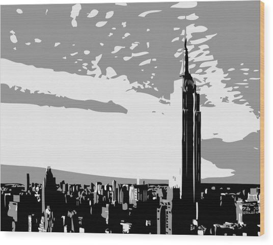 Empire State Building Bw3 Wood Print