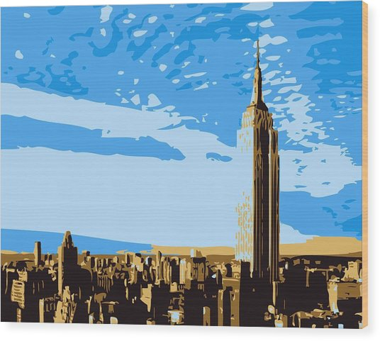 Empire State Building Color 6 Wood Print