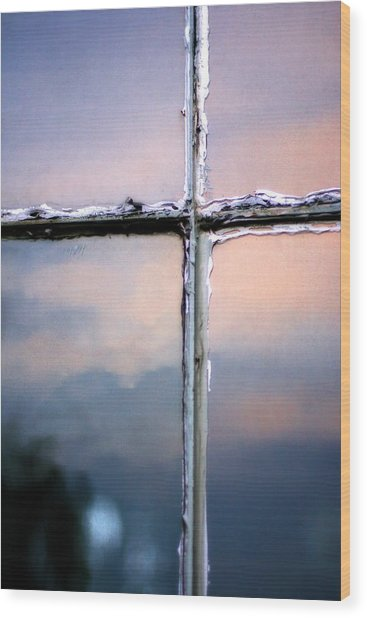 Empty Cross On The Window Of An Old Church Wood Print