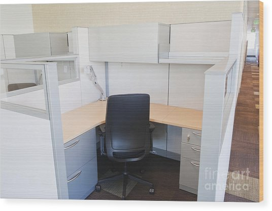 Empty Office Cubicle Wood Print by Jetta Productions, Inc