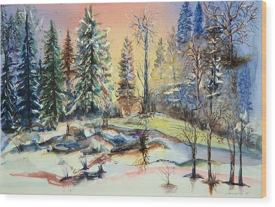 Enchanted Forest At Sunset Wood Print