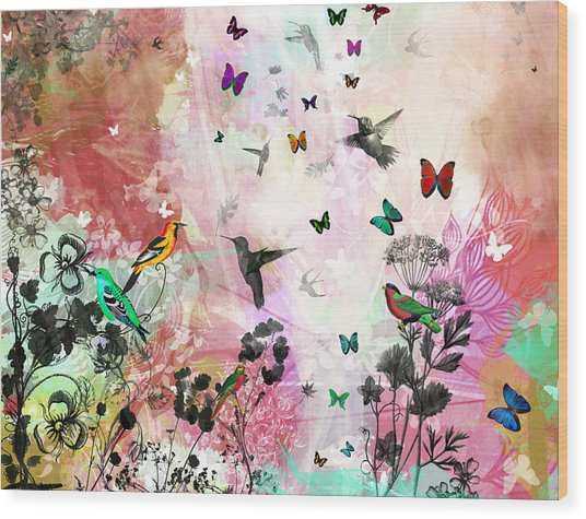 Enchanting Birds And Butterflies Wood Print by Carly Ralph