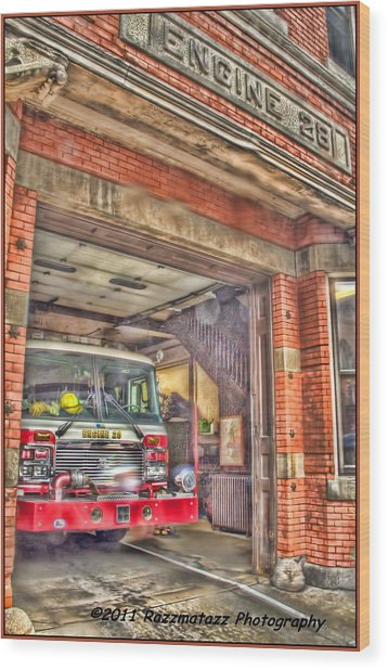 Engine 28 Wood Print