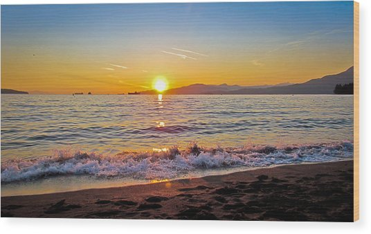 English Bay - Beach Sunset Wood Print