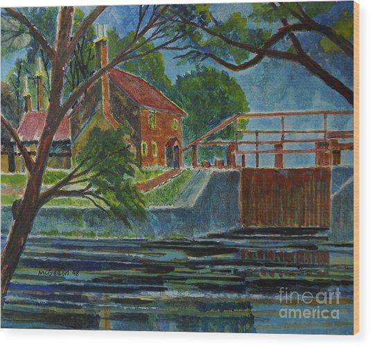 English Canal Lock Wood Print by Donald McGibbon