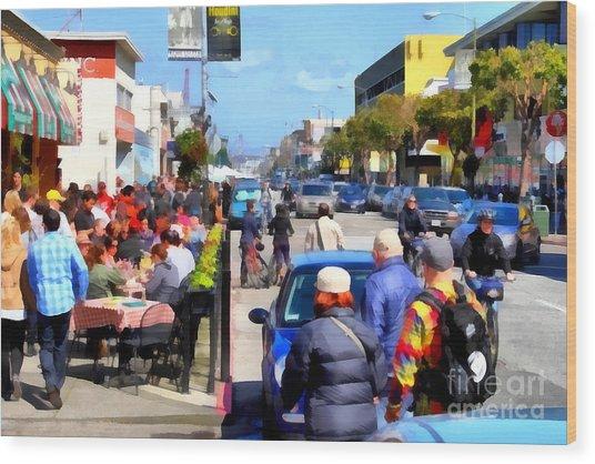 Enjoying The Day At San Francisco Fishermans Wharf . 7d14485 Wood Print by Wingsdomain Art and Photography