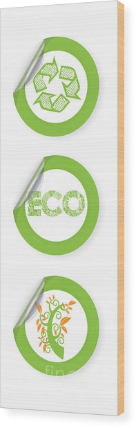 Environmental Sticker Design Wood Print by HD Connelly