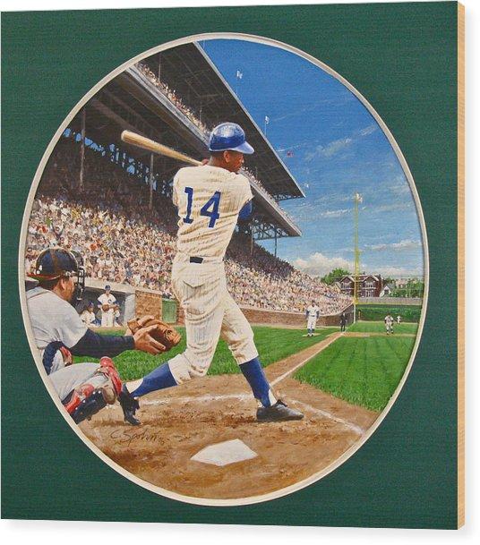 Ernie Banks Wood Print by Cliff Spohn