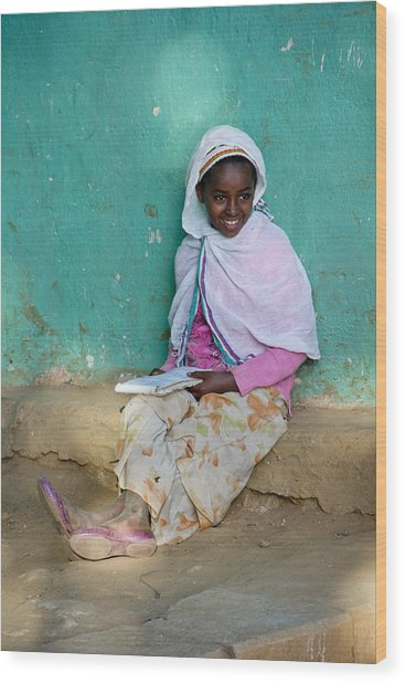Ethiopia-south School Girl Wood Print