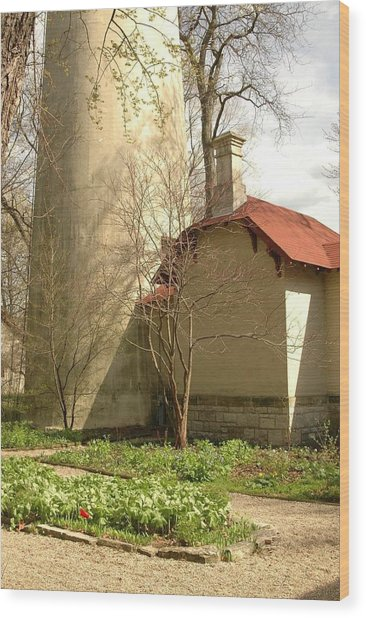 Evanston Illinois Lighthouse In Spring Wood Print by Jennifer Holcombe