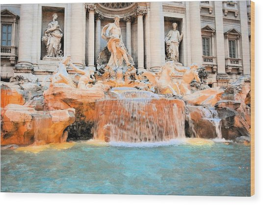 Evening At Trevi Fountain Wood Print by