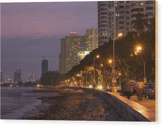 Evening Falls Over Water Front Buildings Wood Print by Austin Bush