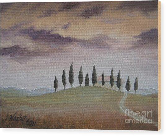Evening Tuscany Wood Print