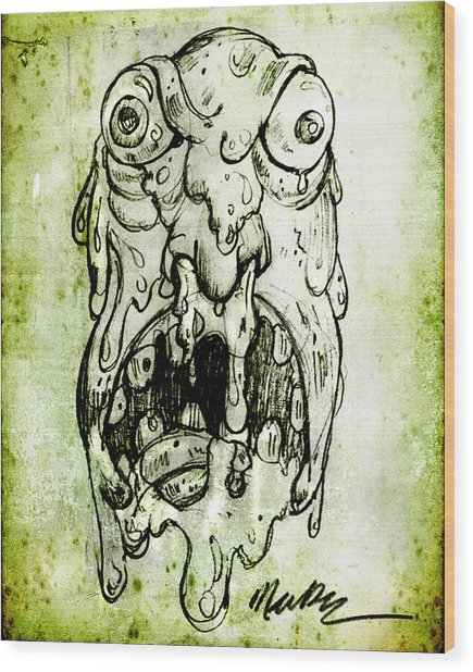 Evil Snot Monster Wood Print