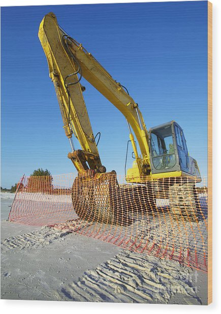 Excavator On The Beach Wood Print by Skip Nall