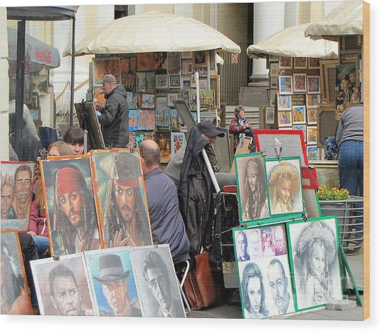 exhibition on the street of Petersburg Wood Print by Yury Bashkin