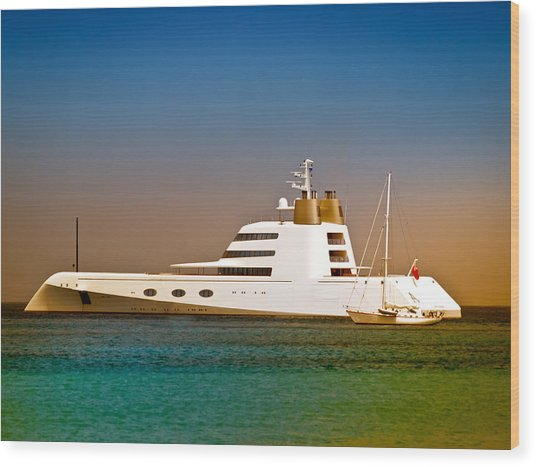 Exotic Yacht Wood Print