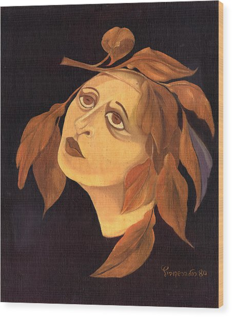 Face In Autumn Leaves Wood Print