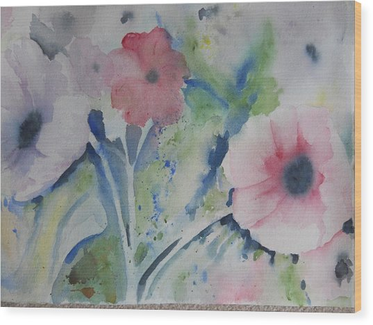 Faded Poppies Wood Print