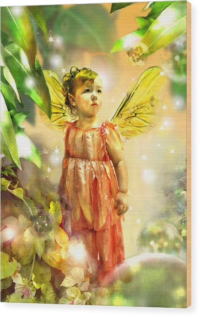 Faery Gazing Wood Print