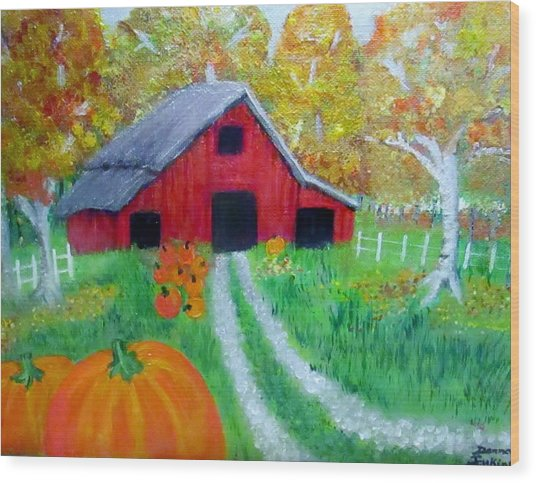 Fall And Pumpkin Harvest Wood Print by Donna Jenkins