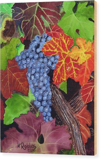 Fall Cabernet Sauvignon Grapes Wood Print