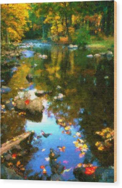 Fall Color At The River Wood Print by Suni Roveto
