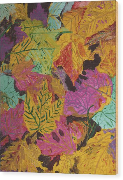 Fall Colors Of Maple Leaves Wood Print